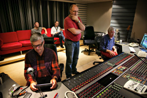 Carl Størmer, Mats Eilertsen, Bendik Hofseth, Lars Jansson (standing) and Jan Erik Kongshaug at Rainbow Studio.  Photo: Olav Olsen, 2013.